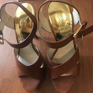 Michael Kors leather sandals brown